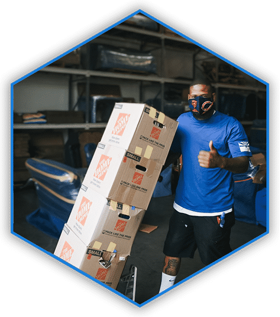 moving company employee with a thumbs up, moving boxes