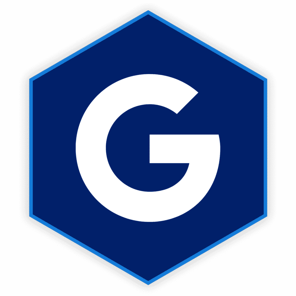 Hexagon with a G for google